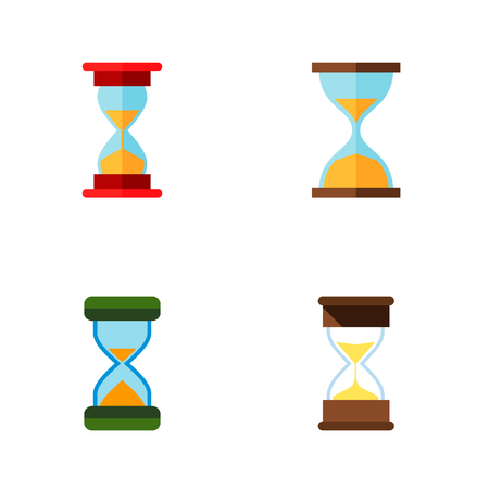 Icon flat hourglass set of sand timer, instrument, loading  objects. Also includes hourglass, timer, sand elements.