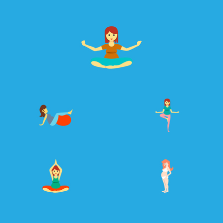 Icon flat pregnancy set of sport, meditation, pregnant woman and other vector objects. Also includes pregnant, woman, meditation elements.
