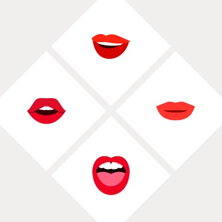 Icon flat lips set of kiss, teeth, smile and other vector objects. Also includes lips, pomade, mouth elements. Illustration
