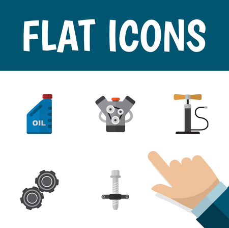 Icon flat service set of pumping air, engine, pulley and other vector objects. Also includes car, silent, pump elements.
