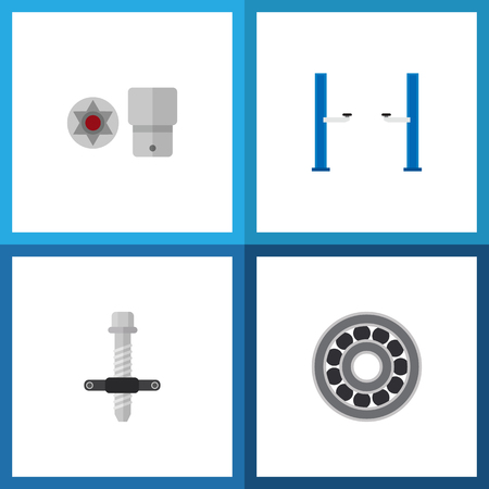Icon flat service set of screwdriver star, car lift, silent block puller and other vector objects. Also includes lifting, turnscrew, disk elements. Illusztráció