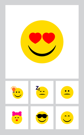 Icon flat emoji set of kiss, heart-shaped eyes, joy and other vector objects. Also includes smile, face, happy elements.