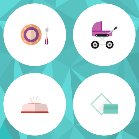 Icon flat baby set of napkin box, pram, dish and other vector objects. Also includes napkin, baby, tissue elements.