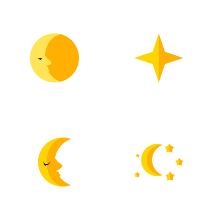 Icon flat night set of moon, asterisk, crescent and other vector objects. Also includes moon, star, sky elements.