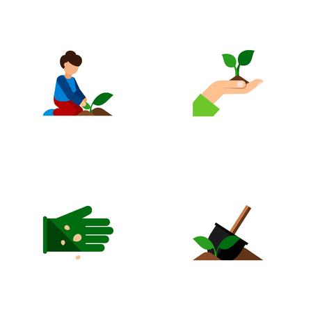 Ensemble de truie plate icône de plante, femme, légumineuse et autres objets vectoriels. Comprend également des éléments de graine, fleuriste, femme.