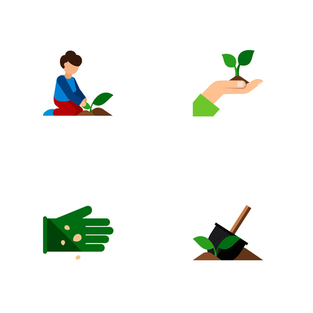 Icon flat sow set of plant, woman, legume and other vector objects. Also includes seed, florist, woman elements. Stock Illustratie