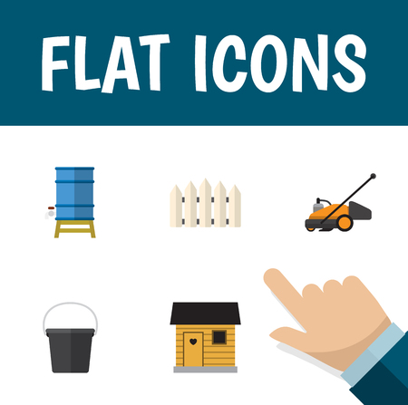 Icon flat dacha set of grass-cutter, bucket, barn and other  objects. Also includes container, mower, stabling elements. Stok Fotoğraf