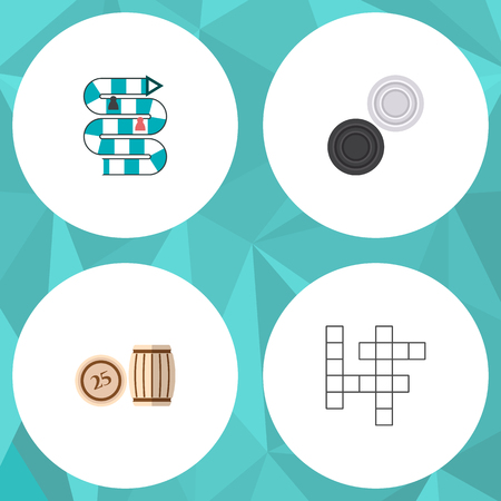 Icon flat play set of crossword, table game, lotto and other  objects. Also includes play, checkers, bingo elements. Banque d'images