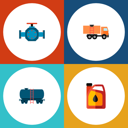 Icon flat oil set of tanker, fuel canister, pipe pump valve and other vector objects. Also includes oil, tanker, pump elements.