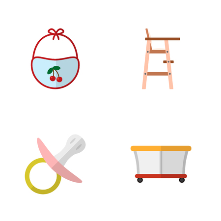 Icon flat child set of bib, pacifier, playpen and other  objects. Also includes playground, baby, chair elements. Standard-Bild