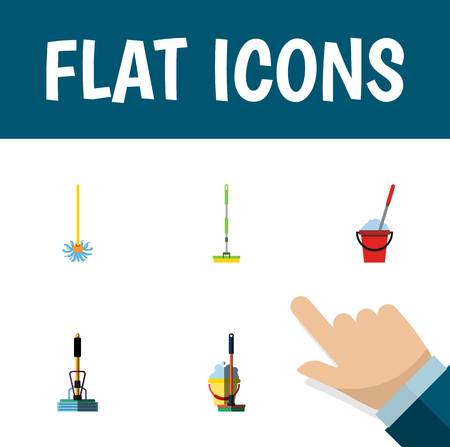 Icon flat broomstick set of bucket, broom, equipment and other vector objects. Also includes mop, sweeper, broom elements.