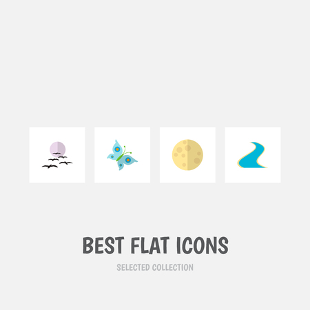 Icon flat natural set of moon, river, butterfly and other vector objects. Also includes moon, gull, monarch elements. Illustration