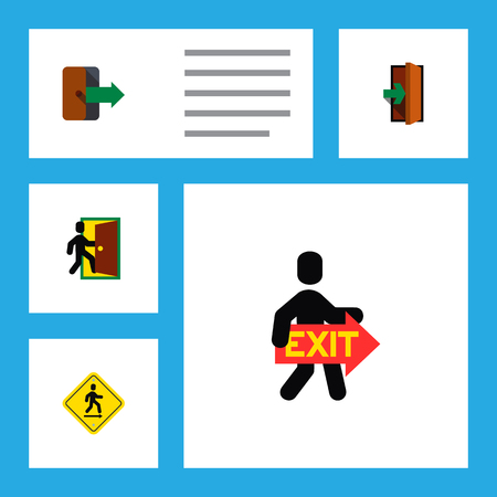 Icon flat emergency set of exit, directional, entry and other  objects. Also includes exit, door, directional elements.
