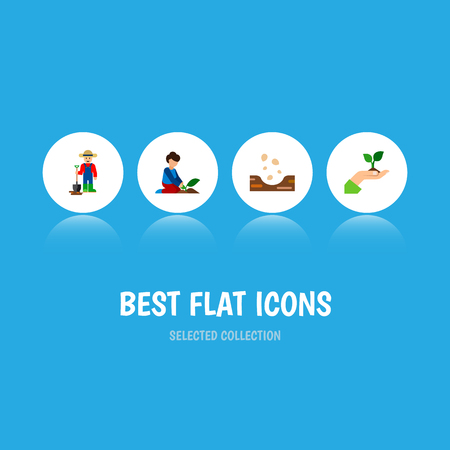 Icon flat sow set of woman, farmer, plant and other vector objects.  イラスト・ベクター素材