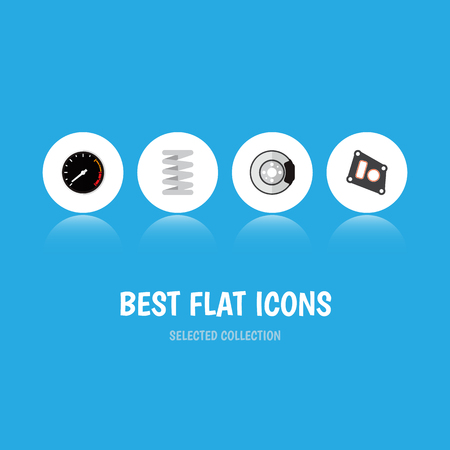 Icon flat component set of speedometer, brake disk, car spring and other vector objects. Also includes car, packing, spring elements.