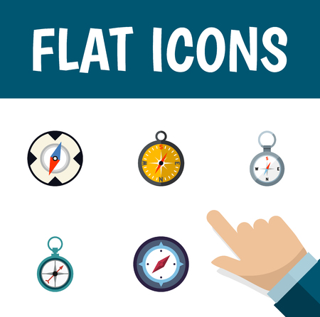 Icon flat orientation set of magnet navigator, measurement dividers, instrument and other vector objects. Illusztráció
