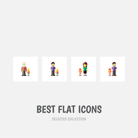 Icon flat relatives set of daughter, father, girl and other vector objects. Also includes family, father, son elements.