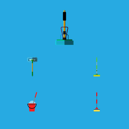 Icon flat broomstick set of broomstick, cleaning, equipment and other  objects. Also includes mop, sweeper, broom elements.