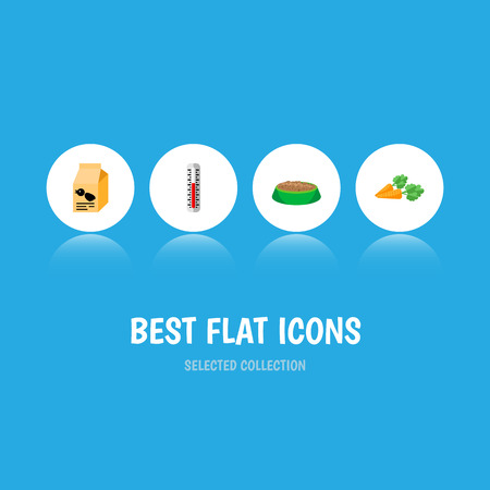 Icon flat animal set of hare nutrition, carrot, thermometer and other  objects. Also includes food, rabbit, root elements.