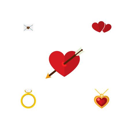 Icon flat love set of pendant, arrow, love and other  objects. Also includes heart, love, wedding elements. Stock Photo