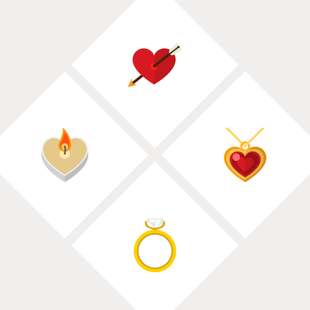 Icon flat amour set of ring, pendant, arrow and other vector objects. Also includes heart, pendant, ring elements.