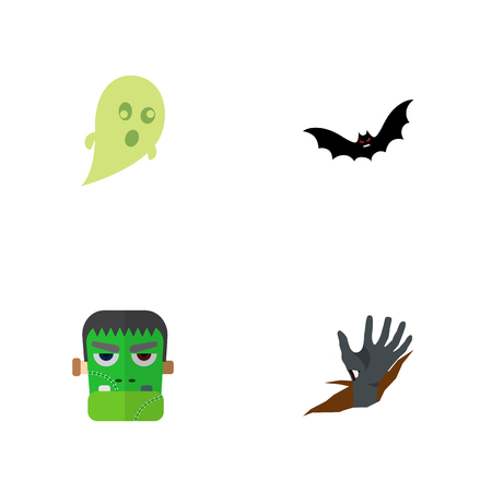Icon flat celebrate set of ghost, zombie, corpse hand vector objects. Also includes zombie, corpse, superstition elements.