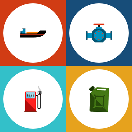 Icon flat oil set of gas station, jerrycan, pipe pump valve and other vector objects. Also includes transport, pipe, ship elements. Illustration