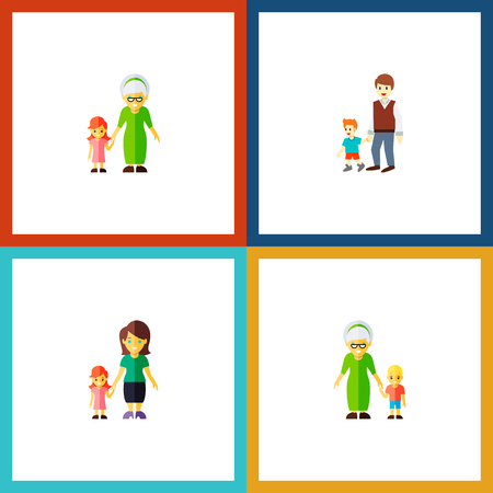 Icon flat family set of grandson, grill, grandma vector objects.