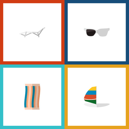 Icon flat season set of sunbed, sunglasses, sailboard and other vector objects. Also includes towel, sailboard, cloth elements.