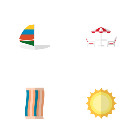 Icon flat season set of solar, sailboard, beach table and other vector objects. Also includes cloth, wiper, sun elements.