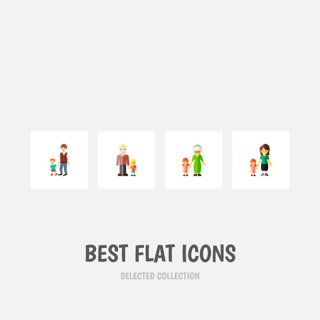 Icon flat people set of brothers, gril, grandma  objects. Also includes family, grandpa, grandma elements. Banco de Imagens