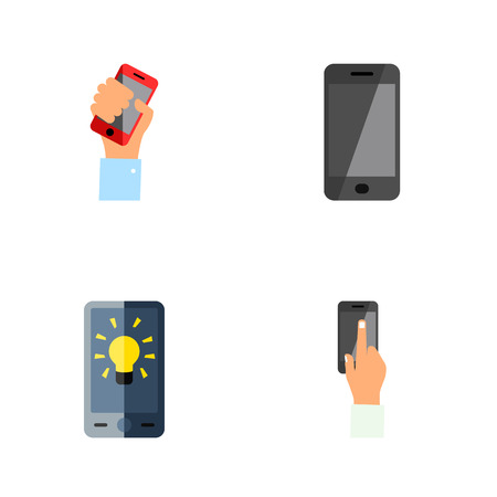 Icon flat touchscreen set of interactive display, holding, smartphone and other vector objects. Also includes cellphone, smartphone, holding elements.