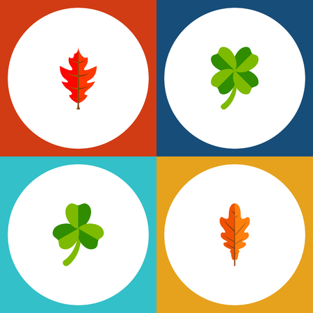 Icon flat leaf set of linden, frond, leafage and other vector objects. Illustration