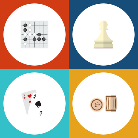 Icon flat play set of lotto, gambling cards, chess and other vector objects.