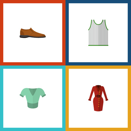 Icon flat dress set of blouse, dress, sleeveless tank and other vector objects. Also includes clothes, sleeveless, singlet elements.