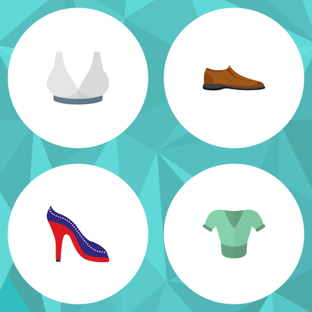 Icon flat garment set of man shoe, blouse, sport bra and other vector objects. Also includes blouse, clothes, man elements.