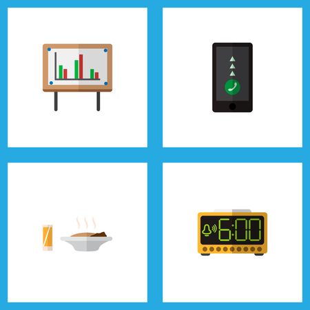 Icon flat life set of food with drink, chart, smartphone and other vector objects. Also includes cellphone, whiteboard, time elements.