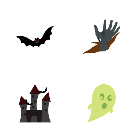 Icon flat halloween set of castle, bat, corpse hand vector objects. Also includes creepy, superstition, bat elements. Ilustração