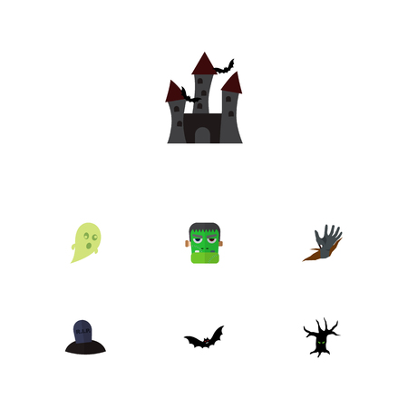 Icon flat festival set of corpse hand, grave, zombie  objects. Also includes monster, zombie, tree elements.