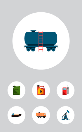 Icon flat oil set of ship, oil pump, jerrycan and other  objects. Also includes oil, jerrycan, fuel elements.