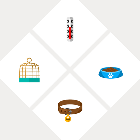 Icon flat pets set of kitty food, thermometer, birdcage and other  objects. Also includes cage, birdcage, puppy elements.