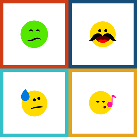 Icon flat gesture set of sad, cold sweat, whiskers and other  objects. Also includes emoji, sad, song elements.
