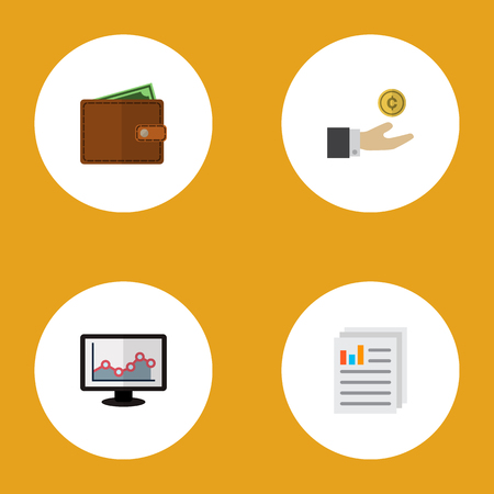 Icon flat finance set of graph, paper, save money and other vector objects. Also includes document, coin, money elements. Banco de Imagens