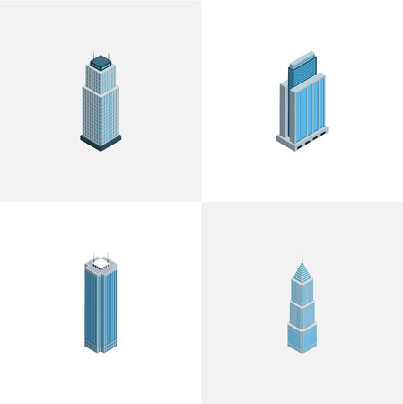 Isometric skyscraper set of building, residential, business center and other vector objects. Also includes skyscraper, apartment, tower elements.