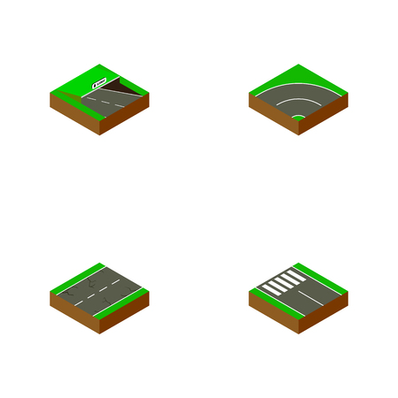 Isometric way set of pedestrian, earthquake, subway and other vector objects. Also includes road, pedestrian, underground elements.