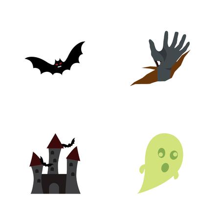 Icon flat halloween set of castle, bat, corpse hand  objects. Also includes creepy, superstition, bat elements. Banco de Imagens