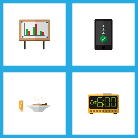 Icon flat lifestyle set of food with drink, chart, smartphone and other  objects. Also includes cellphone, whiteboard, time elements.