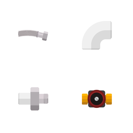 Icon flat sanitary set of drain, coiled wire, faucet and other  objects. Also includes pipe, plastic, corrugated elements. Stock Photo