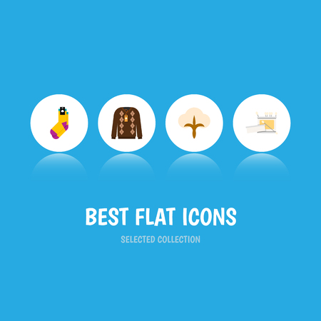 Icon flat cotton set of fiber, crochet, socks and other  objects. Also includes knitting, hosiery, yarn elements.