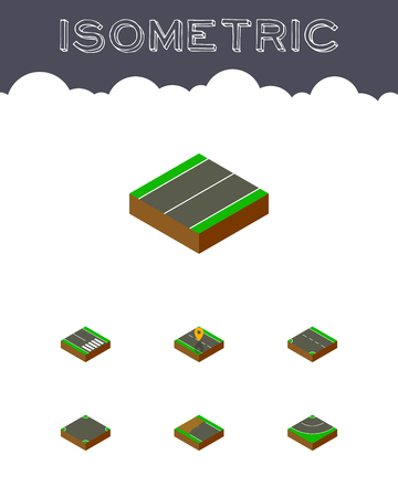 Isometric road set of footpassenger, down, asphalt and other vector objects. Also includes road, bitumen, pedestrian elements. Illustration